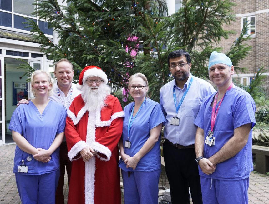 Photo of Father Christmas and medical team