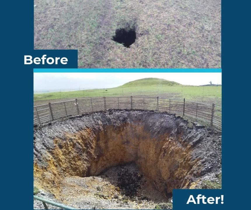 Photo of sink hole, before and after