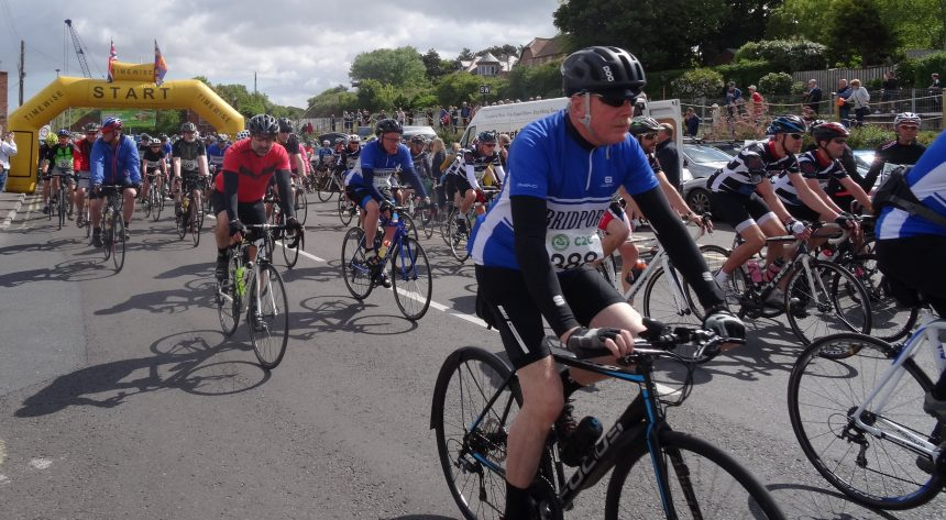 Photo of cyclists talikng part in Air Ambulance Cycle Challenge 2018