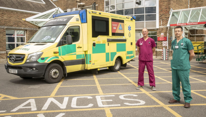 Dr Ina Meek consultant ED & Dr Ian Mew anesthesia and intensive care. The Ddoctors are infront of ED at DCH. Pic credit: Lex Ballantyne / Dorset County Hospital