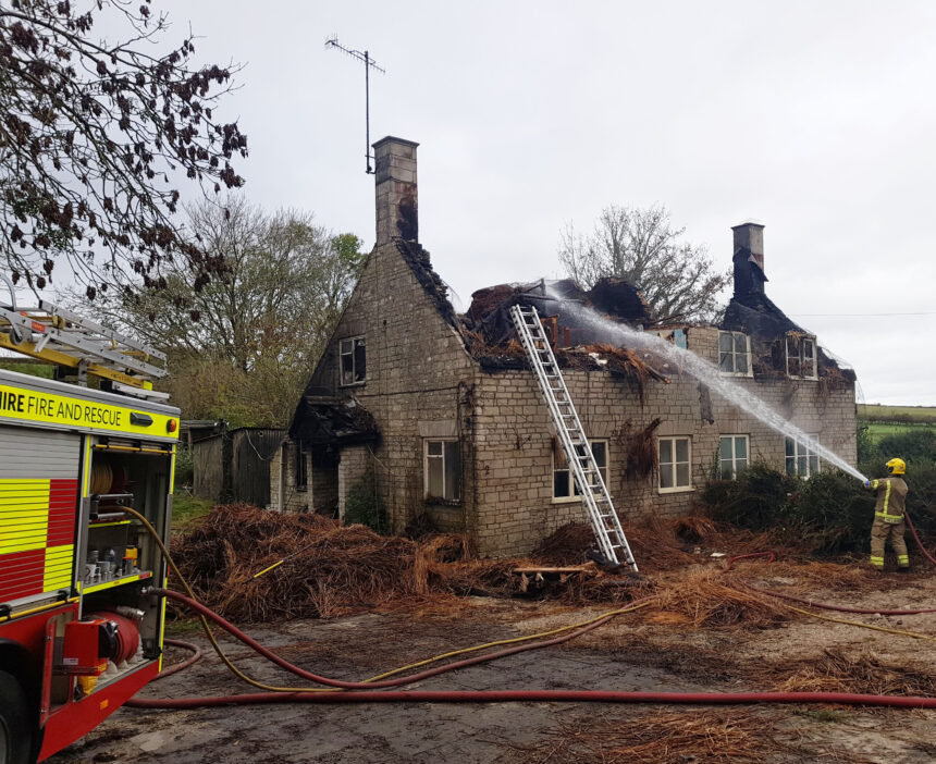 Thatched roof on two cottages destroyed