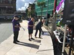 Brewery Square live broadcast - Mayor cutting the cake