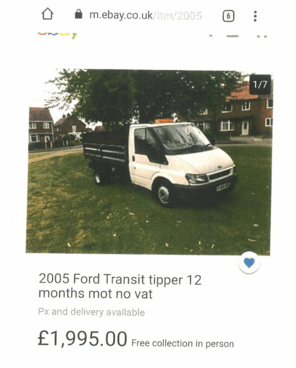 the advert for the truck on eBay